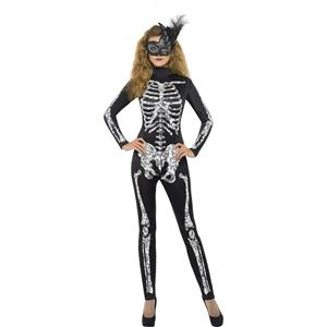 Women's Soleil Skeleton Cat Suit Sexy Adult Costume Size Large