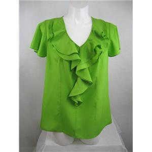 CATO Size 14/16W Flutter Sl Polyester Blouse V Neckline w/ Front Ruffle in Lime