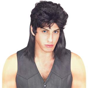 Black Mullet Shoulder Length Costume Wig