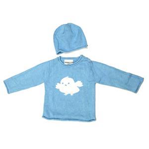 18-24m NEW Trumpette Baby Blue Bird Cotton Knit Chick Sweater/Beanie Hat Set