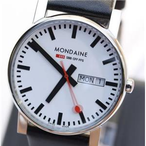 Mondaine A667.30344.11SBB. Evo. Gents. 38 Day-Date. Black Leather Band. White Round Dial.30M Resist.