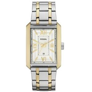 Fossil Men's FS4654. Roman Numbers. Analog. Stainless Two-tone Bracelet. White Dial. Quartz Watch.
