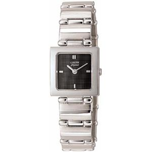 Citizen Women's EK4640 -59E. Stainless Steel Bracelet. Black Dial Watch.