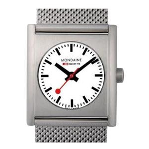 Mondaine A658.30320.16SBM. Dress Women's Swiss Quartz. Evo-Ext. Square Steel Bezel. Steel Mesh Band.