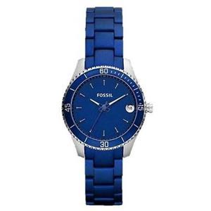Fossil Women's ES3043. Stella Mini. Analog. Stainless Steel Blue Bracelet. Blue Dial Watch.
