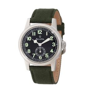 Bulova Men's 96A102 Watch. Military Green Leather/Canvas Strap, Steel Case.