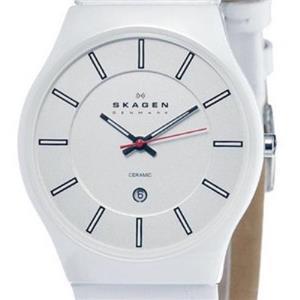 Skagen 233XLCLW.Ceramic Case.White Leather Strap.Quartz.White Dial.30m Resist.