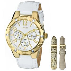GUESS Women's U0163L4.Bling Gold Tone Case w/ Crystals.Round Whte Dial.3 Subdials. Multifunctional.I