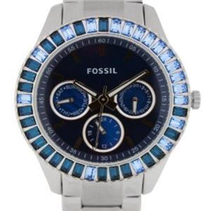 Fossil Women's ES2958. Stella. Baguette Blue Dial. Stainless Steel Bracelet Watch.