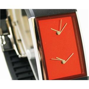 Fossil Men's Ph5026. Philippe Starck. Red Dial. Dual Time. Rubber Strap. Mens Watch.