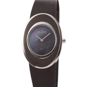 Skagen  548SSBD. Ladies Elegant Black Mesh Bracelet/Case Watch. w/ Mother of Pearl Dial and Case Ado