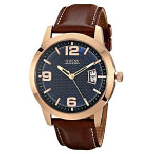 Guess U0494G2. Contemporary.Honey Brown leather Strap. Textured Blue Dial.3 Hand Movement.50M Resist
