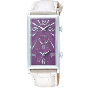 Citizen Women's EX0270 -05X. Lady Kareena. White Leather Strap. Dual Time Quartz Watch.