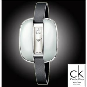 CALVIN KLEIN Women's Treasure Swiss Watch K2E23626. Oval Wht Half Shell and Stainless Steel. Satin o