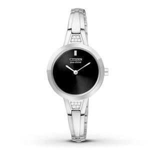 Citizen Women's EX1150-52E. Eco-Drive Silhouette Crystal. Silver Tone Stainless Steel Bangle. Black