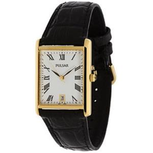 "Pulsar Men's PXDA82. Men's Traditional ""Tank"" Style Watch. Gold-Tone Case, Blk Strap, Blk Stone Crow"