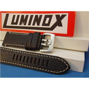 Luminox WatchBand Series 1860 Black Leather/White Stitching 26mm