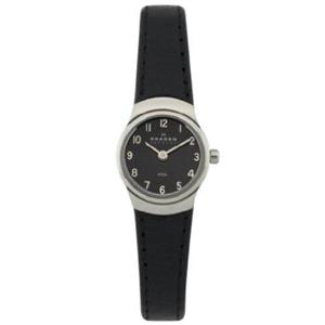 Skagen 502xsslb. Petite Ladies Black Strap Watch With Silver Tone Steel Case and Easy Read Black/Whi