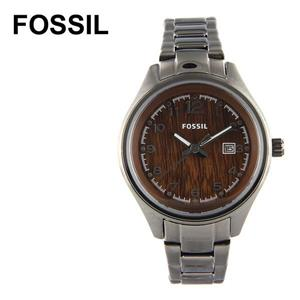 Fossil Women's AM4401. Flight Watch Watch. Black Stainless-Steel Bracelet.Brown Dial.
