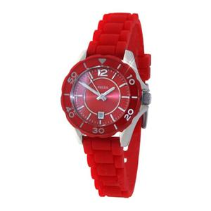 """Fossil Womens ES2937. """" Riley """" . Red Soft Touch Rubber Bracelet Watch."""