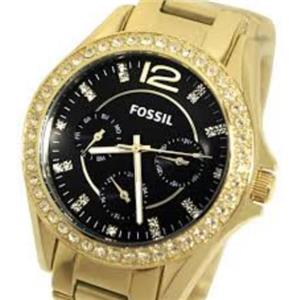 Fossil ES3384. Riley Collection. 45 Crystal Bezel. Chronograph. Luminous Hands. Gold Ion Plated Case