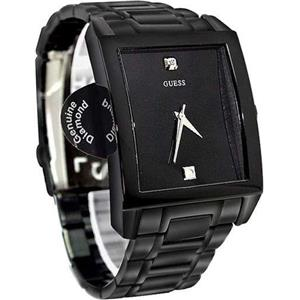 Guess U12557G1. Sexy.Dress.Diamond Markers.Rectangular Black Dial.Black Ion Plated Stainless Bracele