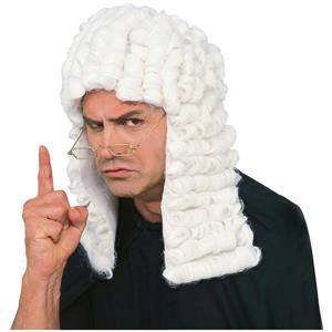 White Retro Judge Barristers Court Dress Wig