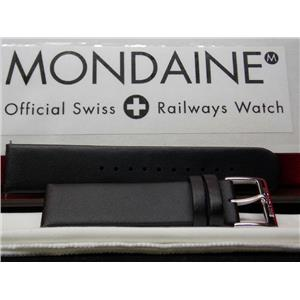 Mondaine Swiss Railways Watch Band FE16220 20Q.20mm Wide Men Black Leather Strap