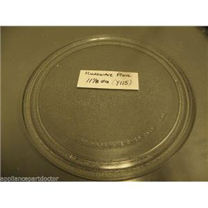 "11 1/8""  MICROWAVE PLATE Y115 USED PART ASSEMBLY FREE SHIPPING"