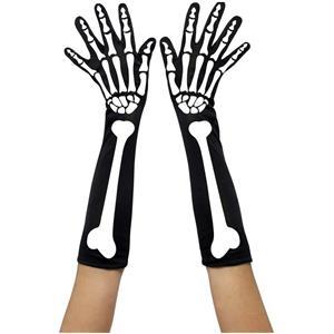 Smiffys Adult Skeleton Elbow Length Halloween Costume Black Bone Print Gloves