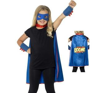 Unisex Childs Blue Superhero Cape Eyemask and Cuffs Costume Kit