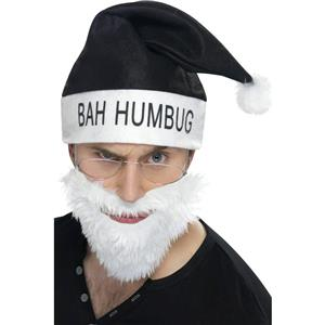 Bah Humbug Anti-Santa Claus Costume Kit Hat Beard and Glasses Set