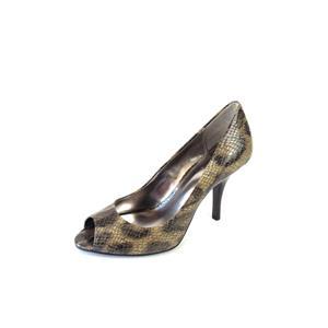 """7.5 NIB Alfani Tina Leo Snake Embossed Leopard Print Peep Toe Pumps 3.5"""" Heels"""