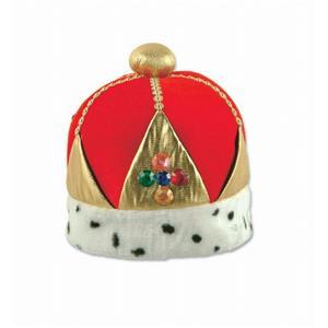Plush Royal Imperial Queen's Crown Hat Dalmatian Trim