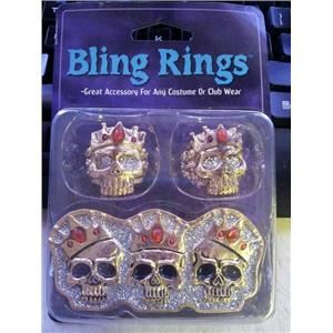 3 Pack Skull Bling Rings Costume Jewelry