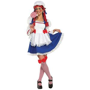 Adult Sexy Rag Doll Raggedy Ann Costume with Yarn Hair Size XS 2-6