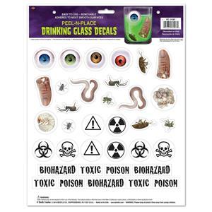 Beistle Drinking Glass Decal Peel 'N Place Bugs Eyeballs Toxic Biohazard