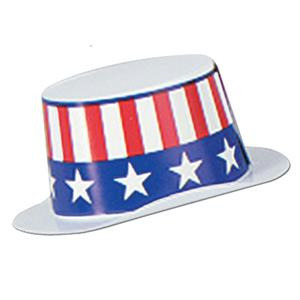 Miniature White Plastic Topper with Patriotic Band