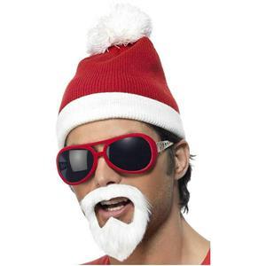 Gangsta Santa Accessory Costume Kit Beanie Hat Beard and Glasses Set