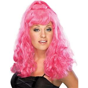 Hot Pink Spicy Girl Shoulder Length Partial Up Do Wig