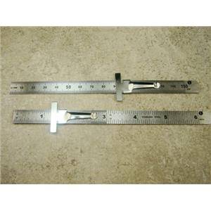 """Set of 2 Stainless Steel 6"""" Rulers Measures Attached Clip"""
