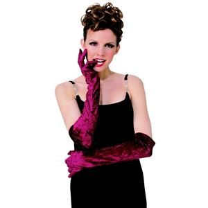 Burgundy Long Velvet Glamour Gloves