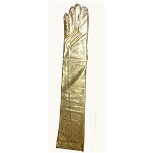 Gold Metallic Lame Shoulder Length Evening Costume Gloves