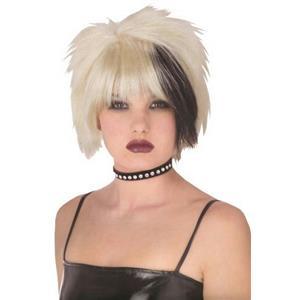 Blonde with Black Streak Pristine Punk Wig