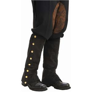 Black Suede Steampunk Boot Spats