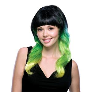 Lime Delight Black Green and Yellow Tri-Color Wig