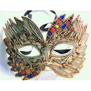 Yellow Pink Blue Falcon Mardi Gras Eye Festive Party Mask