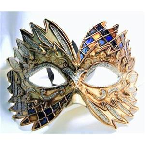Blue Black Gold Falcon Mardi Gras Eye Festive Party Mask