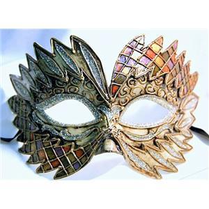 Orange Green Purple Gold Falcon Mardi Gras Eye Festive Party Mask