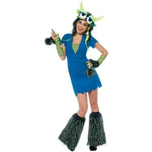 Yeti Blue Monster Sexy Adult Ladies Costume Dress and Headpiece Size Small